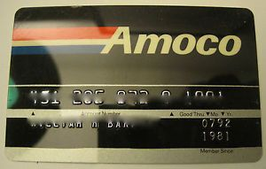 Vintage 1980s 90s Amoco Gas Company Credit Card Gas Station Charge Card