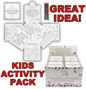 Kids Childrens Wedding Activity Pack Puzzles Crayons Colouring Book Travel Games