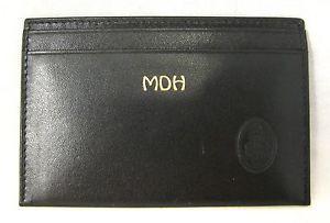 New Authentic Mark Cross Black Leather Credit Card Holder Men's Unisex Wallet