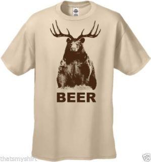 New Mens Funny Beer T Shirt Bear Deer