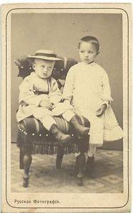 1870 80's Russia Vladimir Children Chair Antique CDV Photo