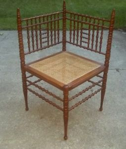 Antique Victorian Aesthetic Faux Bamboo Corner Chair