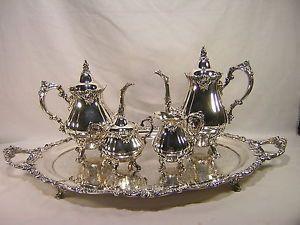 Wallace Baroque 5 Piece Silver Plate Tea Coffee Service Set
