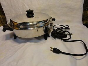 Vintage Saladmaster Stainless Steel Cookware Electric Skillet Egg Poacher