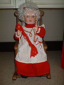 Animated Mrs Santa Claus Knitting in Rocking Chair Christmas Figure Display