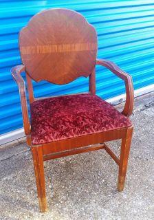 Estate Vintage Antique Vanity Chair Waterfall Wood Pattern Dallas TX