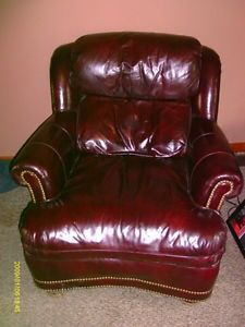 John M Smith Itailian Cherry Leather Arm Chair