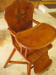... Vintage Solid Wood Baby Toddler High Chair With Childs Decal ...