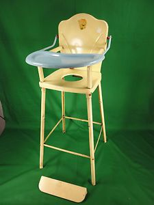 Vintage AMSCO Doll E Hichair Pressed Steel Childs Baby Doll High Potty Chair