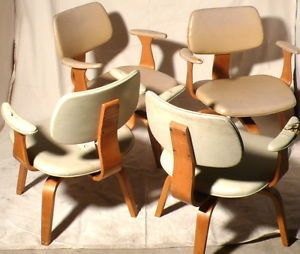 ... 4 Vintage Thonet Swivel Plywood Bentwood Arm Chairs ...