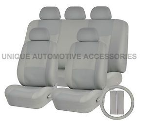 Toyota Camry PU Leather Solid Gray Semi Custom Seat Covers Bench 14 Pcs Set