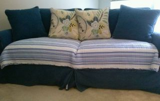 Cindy Crawford Sofa Chair and Ottoman in White w Denim Cover Kennesaw GA