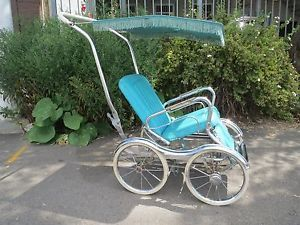 Vintage 1950's Stroll O Chair Baby Stroller Blue Vinyl Chrome Complete