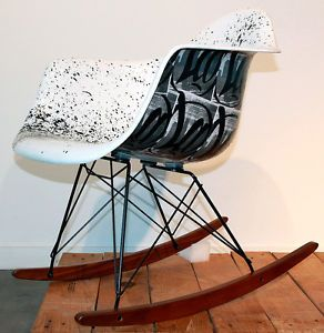 Ser La Case Study Fiberglass Arm Shell Rocker Street Art Graffiti Eames Chair