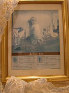 Vintage Print My Dollie's Prayer Burges Johnson Framed Poem Child's Poetry