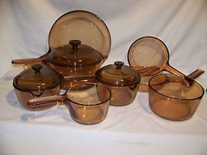 Visions Cookware Amber 11 Piece Pyrex Set 2 Cup Spout Fry Pans with Lids