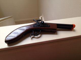 """Parris Replica 12"""" Dual Flintlock Cap Gun Pistol Double Barrel Solid Wood Handle"""