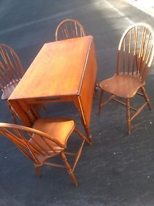 Antique Maple Drop Leaf Swing Leg Dining Table Chairs Set Vintage or Mahogany