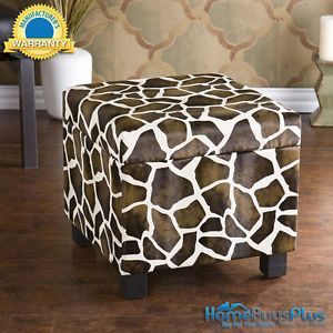Giraffe Faux Leather Storage Ottoman Foot Stool Bench Animal Print