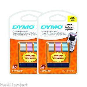 6pk Dymo Letra Tag Metallic Silver Pink Blue Color Label Refills LetraTag Lt