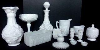 13 Pcs Vintage Milk Glass Decanter Vase Milk Pitcher Sugar Creamer Compote More