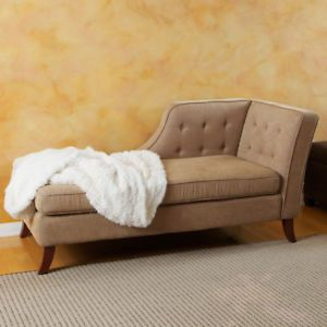 New Beige Fabric Luxury Chaise Lounge Chair Sofa