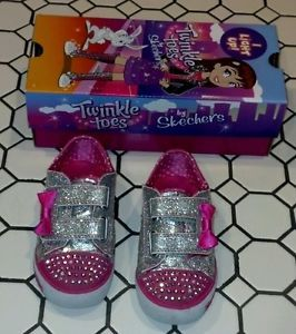 Toddler Girls Skechers Twinkle Toes Shoes Size 8 Pink Silver Light Up