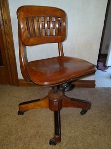 ... Antique Wooden Office Chair With Swivel Back Seat Solid Wood Adjustable  Height ...