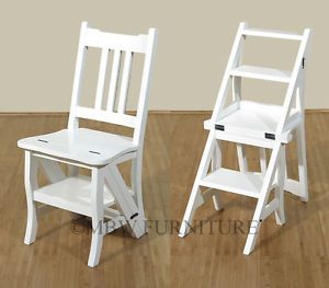 Solid Wood Painted White Convertible Ladder Chair Step Stool Bed Steps A113BW