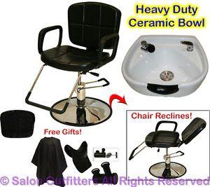 White Round Ceramic Shampoo Bowl Hydraulic Recline Barber Chair Salon Equipment