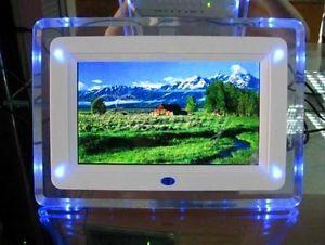 "7"" TFT LCD Digital Photo Movies Frame  MP4 Player Alarm Clock Light Flashing"