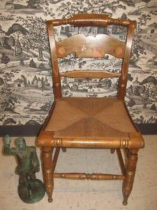 ... Ethan Allen Heirloom Nutmeg Maple Eagle Hitchcock Chair 6110 Hand  Decorated ...