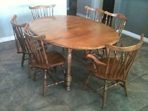 Magnificent 11 Pc Solid Maple Dining Room Set W 8 Colonial Style Chairs Machost Co Dining Chair Design Ideas Machostcouk
