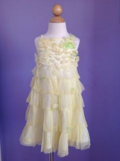 Kate Mack Girls Yellow Tulle Ruffle Spring Summer Dress Sz 3T 3 LN Style 519GBB