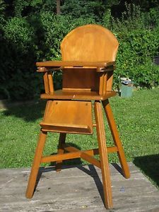 antique vtg wooden child s maple baby high chair walker wood tray