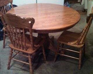 Round Oak Dining Table and 4 Chairs Best OFFER