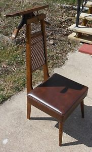 Vintage Setwell Valet Chair Made in USA Modern 1969 Brown Leather Dressing Seat