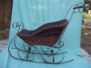 Vintage Toy Doll Carriage Wood Wicker Pram Baby Stroller Doll Buggy