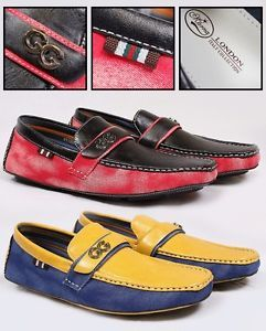 New Mens Two Tone Leather Look Driving Shoes Italian Design Loafers Mocassins