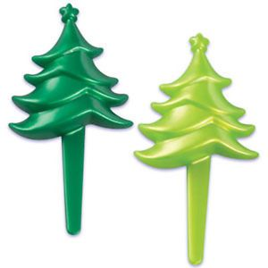 Christmas Tree Two Color Cupcake Picks Cake Toppers Decoration Party Supplies 24