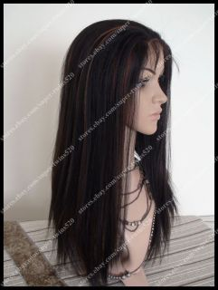 1B 30 Lace Front Wig 16 Yaki Straight 100 Indian Remy Human Hair Wig Baby Hair