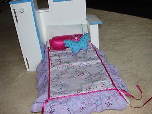 American Girl Doll Bed Desk with Folding Mattress Dresser Chair Bedding Included