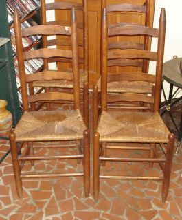 ... Antique Ladder Back Rush Seat Dining Room Chairs Set Of 6 ...