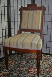 Outstanding Antique Eastlake Aesthetic Victorian Newly Upholstered Carved Chair