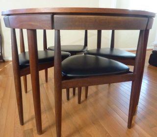 Original Hans Olsen Mid Century Danish Modern Teak 4 Chairs Dining Table Set