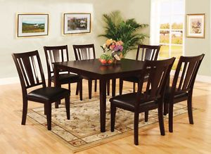 7pc Solid Wood Dining Room Table Set with Faux Leather Chairs