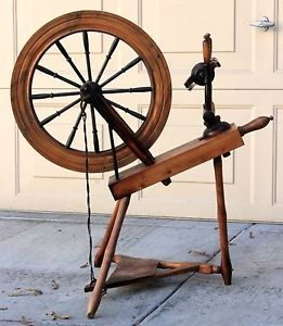 Antique Wood Spinning Wheel