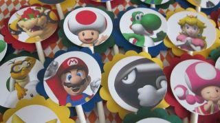 24 Super Mario Birthday Party Cupcake Toppers Luigi Yoshi New Professional