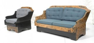 Unique Rustic Country Couch Lounge Chair Sofa Loveseat Chaise Armchair Set Wood