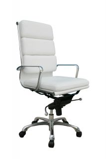 J M Chic Modern Plush White Leather High Back Office Chair Contemporary Design